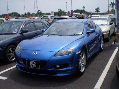 blue Mazda RX-8