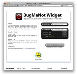 BugMeNot widget website