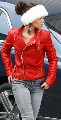Cheryl Tweedy Lovely In Red Leather Jacket, Jeans And Santa Hat Style