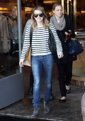 Emma Roberts Looks Pretty On Stripe Dress In West Hollywood