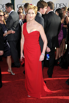 Edie Falco Lovely In A Red One Shoulder Valentino Gown