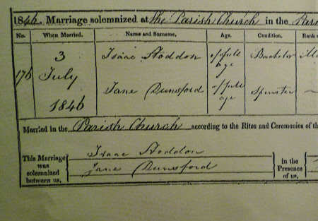 A Section of the Marriage Certificate for Jane Dunsford and Isaac Stoddon