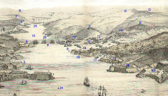 Sebastopol Harbour With Fort Constantine on Left (1) and the Quarantine Fort on the Right (19)