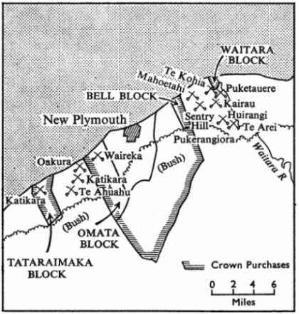 Map of Taranaki Region Showing First Taranaki War 1860-61 Battle Sites