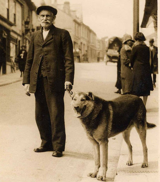 George Odgers With Kuno in Fore St. About  1930