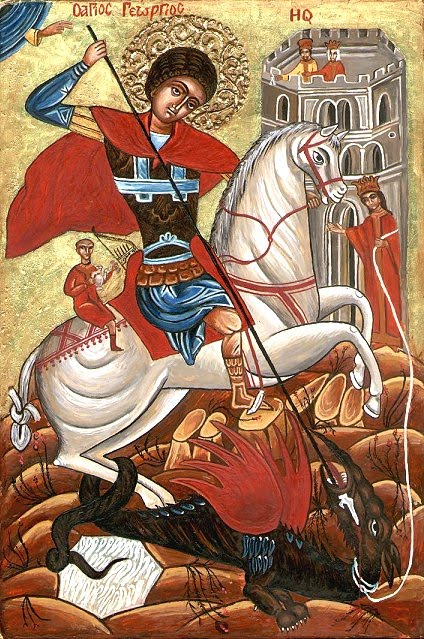 st george slaying the dragon The image of st george killing the dragon, on the other hand, appears more like a fairy-story indeed, it is a popular image in children's story.