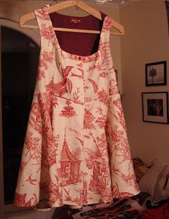 custom goblin hood dress red white french toile