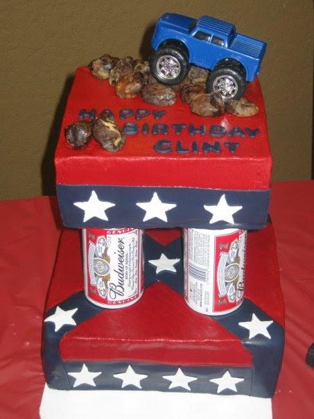 Confederate Flag Cupcake Cake