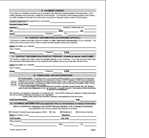 Ncpdp Provider Id And Npi Application Form  Medicare Fee Payment