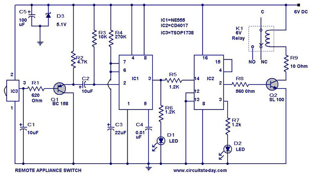TV Remote controlled home appliance circuit with 555 timer ...
