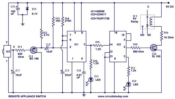 Tv Remote Controlled Home Appliance Circuit With 555 Timer