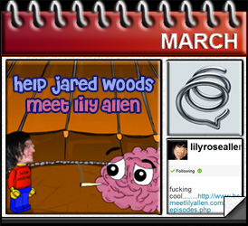 Jared Woods March 2010: Help Jared Woods Meet Lily Allen Cartoon, Lily Allen Tweets About Me, Formspring
