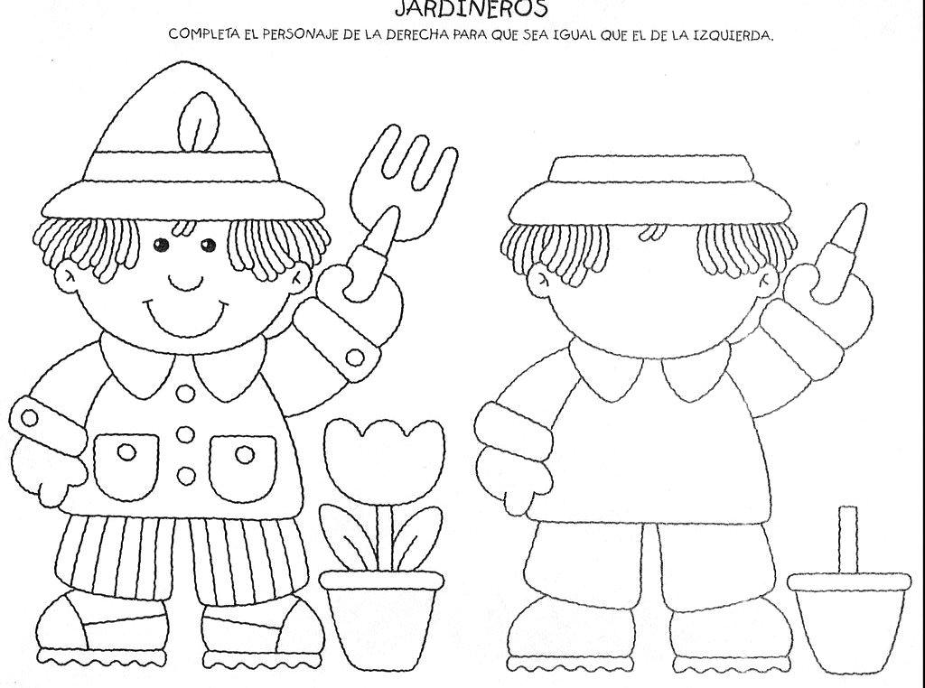 Espa o aprendente complete os desenhos par for Laminas infantiles para imprimir
