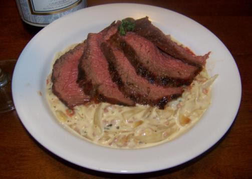 ... : Grilled Tri-Tip with Roasted Onion and Blue Cheese Cream Sauce