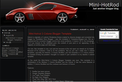 Mini-Hotrod 3 Column Blogger Template