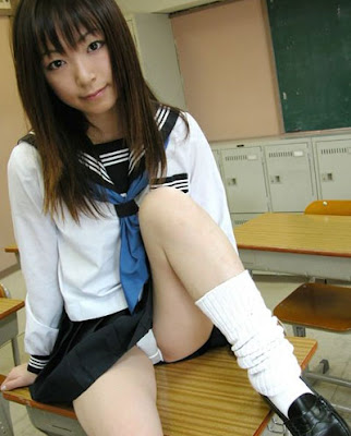 Japanese School Girl Gives Upskirt and Shows Boobs