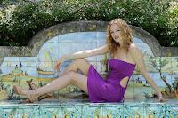 Heather Graham little purple dress photo shoot