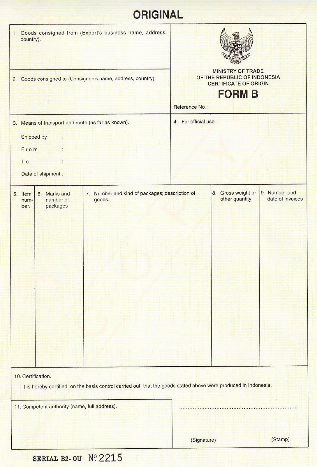 Certificate of origin CERTIFICATE OF ORIGIN FORM B – Certificate of Origin Forms