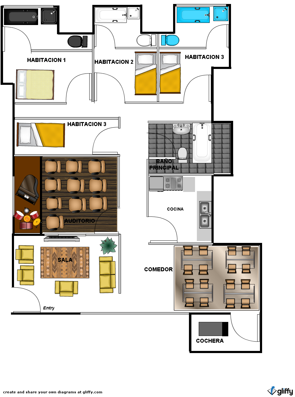 Gustavo jimenez h plano 3 4 alcobas auditorio cocina for Planos de cocina y comedor