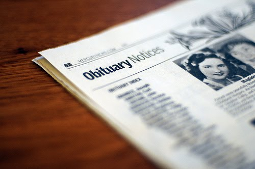 reading obituaries