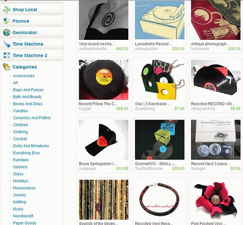Aroha Silhouettes Eclipse vinyl record necklace on the front page of Etsy