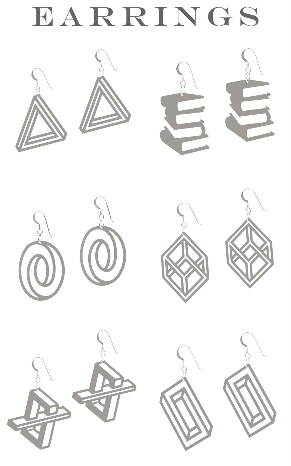 Aroha Silhouettes Stainless Phantasmal collection optical illusion earrings made from stainless steel