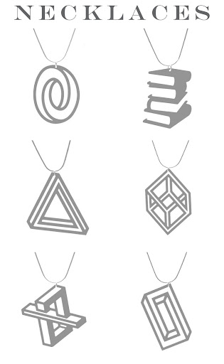 Aroha Silhouettes Stainless Phantasmal collection optical illusion necklaces made from stainless steel