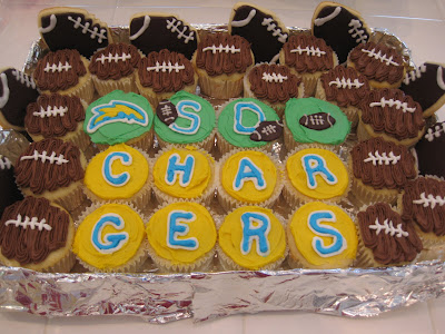 NFL Football Cupcakes, chargers