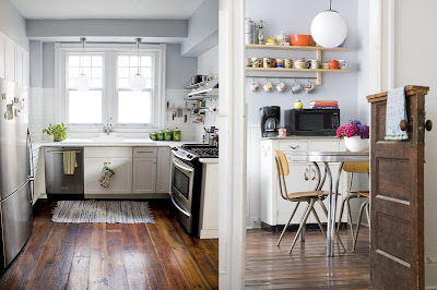 vintage things the wooden floors the retro kitchen table the black ...