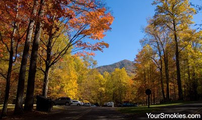 Cosby parking lot in the Great Smoky Mountains national park