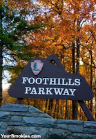 best roads to see the fall colors right now by car, motorcycle or bicycle is the Foothills Parkway