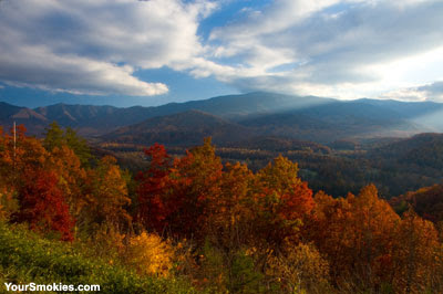 Foothills Parkway East have the best color and the best Smoky Mountains view