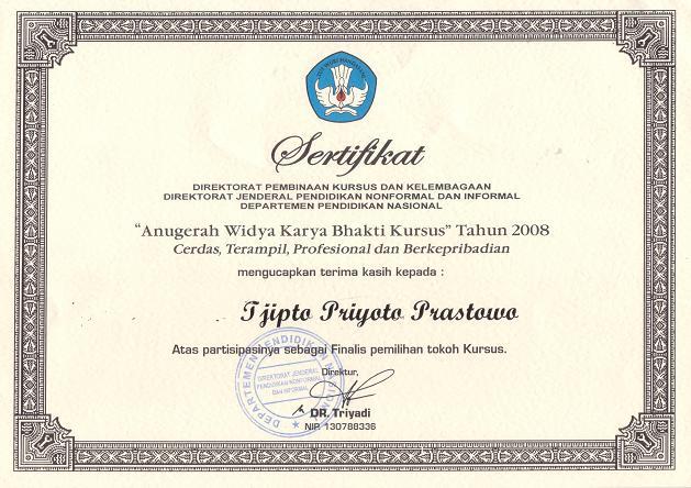 Sertifikat Dari Direktorat Binsus Dan Kelembagaan Ditjen Pnfi