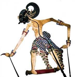 Left A wayang kulit puppet