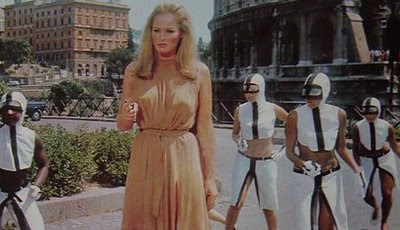 In the future, Ursula Andress will have her own army of sexy go-go girls.