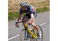 Jens Voigt riding a neutral Mavic bike after destroying his own in a crash, Stage 16, 2010 Tour de France