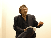 John Perry Barlow lecturing at European Graduate School, Saas-Fee, Switzerland. Tenth Anniversary of The Declaration of the Independence of Cyberspace