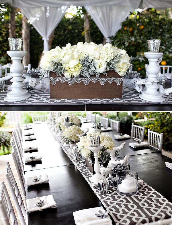 LovelyGirls Weddings Events Gray White Winter Glam Dinner