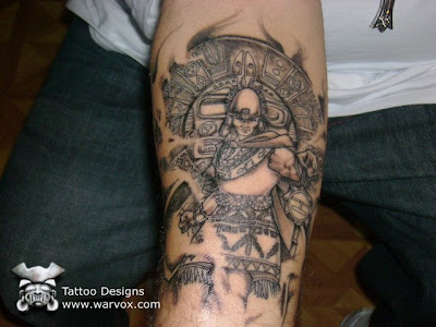 Aztec tattoo put on a good that will make us happy when we see it.
