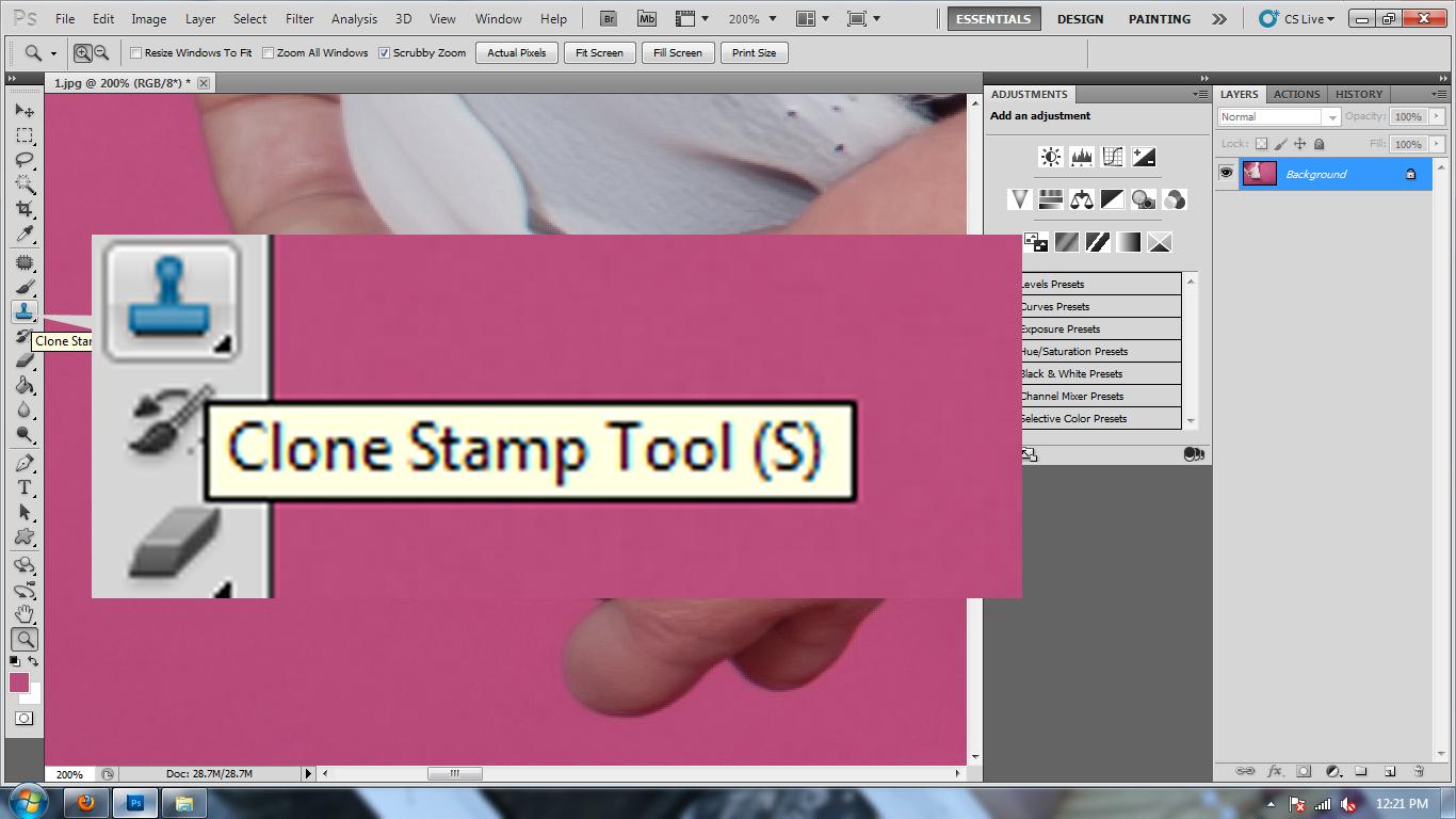 как настроить клон-штамп в фотошопе
