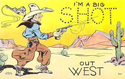 vintage western cowboy comic postcard