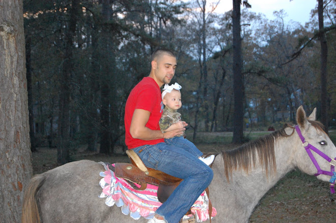 Then she got daddy on the horse!