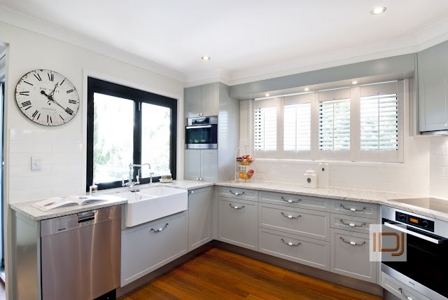 Grey Kitchen Cabintry, Belfast sink, Limoge drawer pulls and Miele Appliances via @natashainozblog
