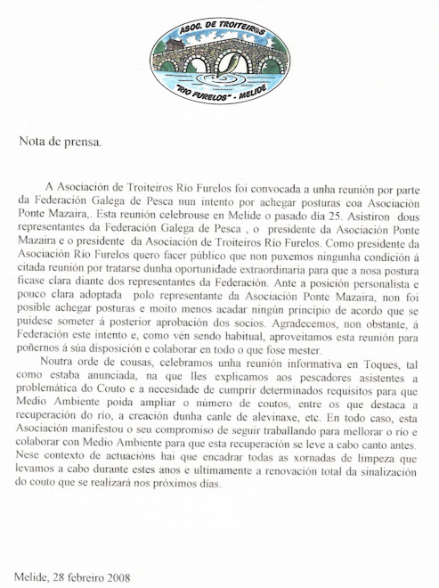 Comunicado de Prensa Asociación Troiteiros Río Furelos