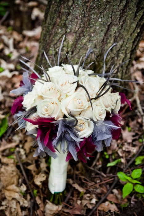 Sandra 39s Wedding Flowers with Feathers and Crystals