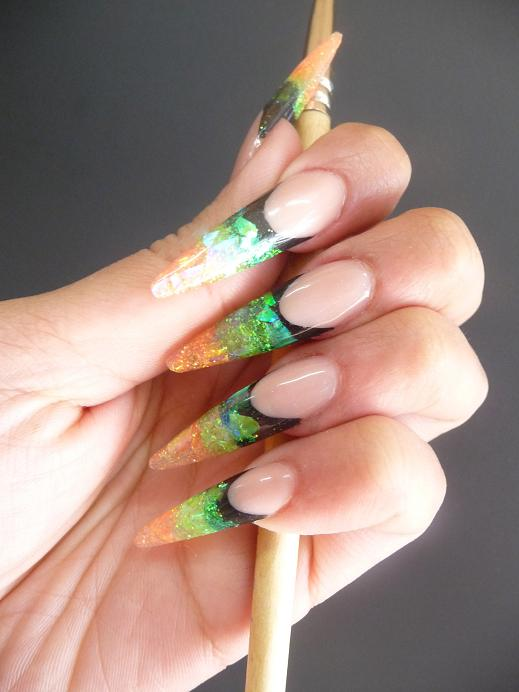 Products used : Platinum Nail Systems: Liquorice, Orange Burst, Kermit &  Green Reflect - ProNail Essentials: Nail Designs @ ProNail Essentials October 2010