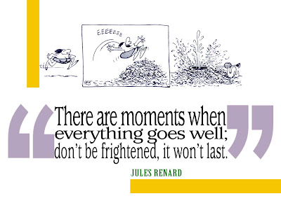 There are moments when everything goes well; don't be frightened, it won't last. Jules Renard