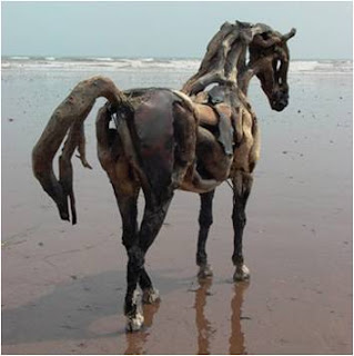 Cavalo de madeira à beira-mar