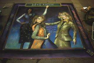 Desenho mulheres - Desenhos tridimensionais na calçada - Giz - Julian Beever