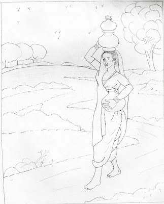 Woman carrying the earthen pot